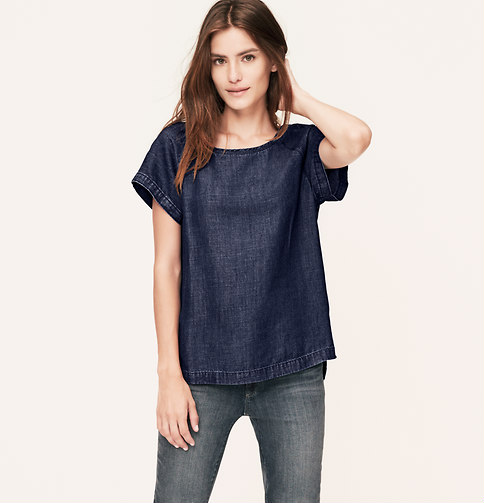 This unique denim top is perfect for apple, pear and straight body types. Was $54.50, now $32.70. Click photo to purchase.