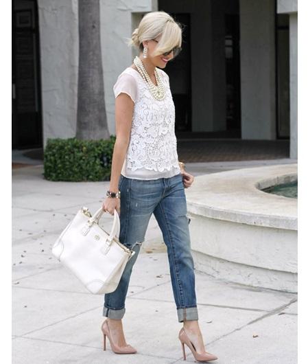 Lace with boyfriend jeans l WWW.MOMMYSTYLIST.COM #TheMommyStylist
